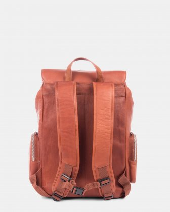SARTORIA - Multifunctional pockets LEATHER Backpack FOR 15.6 IN LAPTOP - Cognac Bugatti