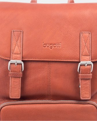SARTORIA - Multifunctional pockets LEATHER Backpack FOR 15.6 IN LAPTOP - Cognac - Bugatti