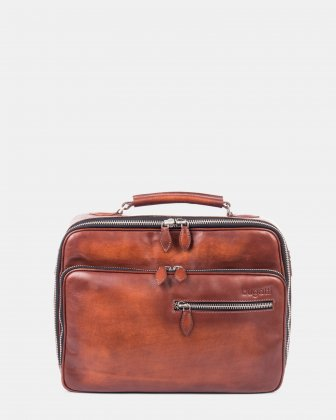 DOMUS - Briefcase with front zippered pocket for 14 in Laptop - Cognac Bugatti
