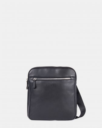 SARTORIA II - Leather crossbody bag with front zippered pocket - Black Bugatti