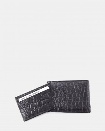 Bugatti -  Croco look Leather wallet with Anti-thef protection - Black Bugatti