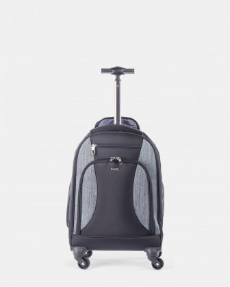 "Matt - backpack on wheels for 17.3"" laptop with Adjustable deluxe padded shoulder straps - Black Bugatti"