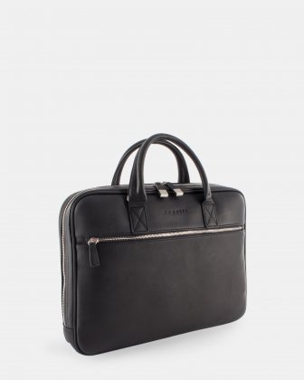 "Sartoria II - Functional leather briefcase for 15.6"" laptop with Double top handles - Black   Bugatti"
