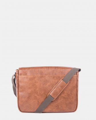 Valentino - messenger bag with flap in vegan leather for 15.6 in laptop - Cognac - Bugatti