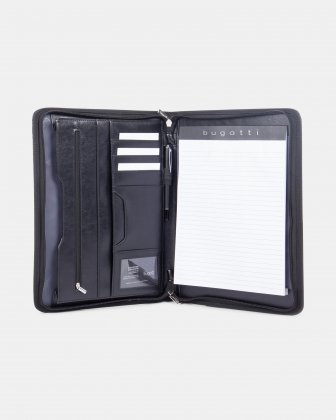 Bugatti - WRITING CASE with Zip around closure & Tablet compartment - Black Bugatti