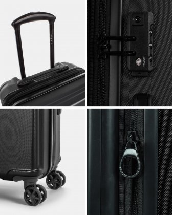 ROME - resistant ABS Hardside Carry-on with Integrated USB port - Black - Bugatti