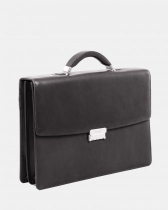 "SARTORIA - Briefcase for 15.6"" laptop with Removable and adjustable shoulder strap - Black Bugatti"