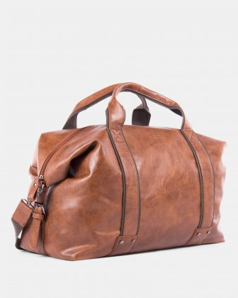 VALENTINO - Duffle bag in vegan leather - COGNAC Bugatti