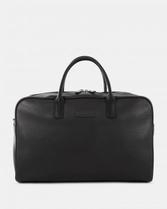 "HORIZON - Leather Duffle Bag with 14"" laptop compartment - Black Bugatti"