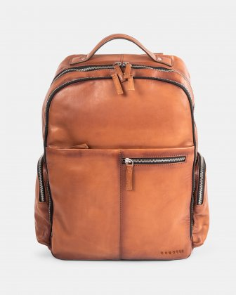 DOMUS 2.0 - LEATHER BACKPACK BAG FOR 14 IN LAPTOP - COGNAC Bugatti