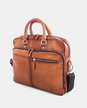DOMUS 2.0 - LEATHER BRIEFCASE BAG FOR 14 IN LAPTOP - COGNAC Bugatti