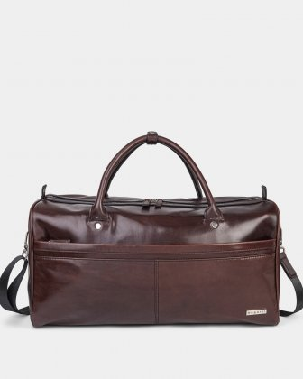 PORTO - WAXED LEATHER DUFFLE BAG WITH PADDED SLEEVE section - BROWN Bugatti