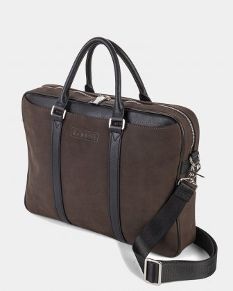 BALANCE - BRIEFCASE FOR 14 IN LAPTOP with Adjustable and removable strap - BROWN  Bugatti