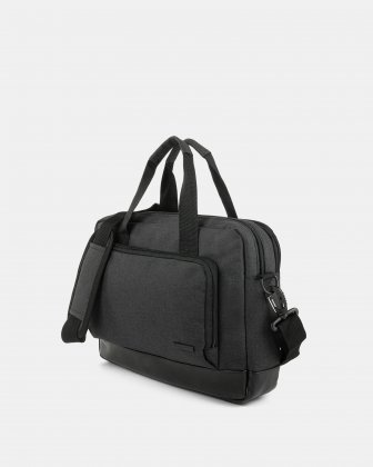 "TRAVELLER - Briefcase FOR 14"" LAPTOP with Removable & comfortable shoulder strap - CHARCOAL Bugatti"