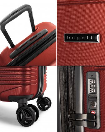 NASHVILLE - HARDSIDE CARRY-ON in 100% recycled plastic with TSA lock - Red - Bugatti