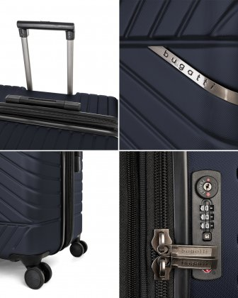 """MOSCOW -  25"""" HARDSIDE CARRY-ON 100% POLYCARBONATE WITH TSA LOCK - NAVY - Bugatti"""