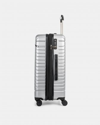 "MOSCOW -  25"" HARDSIDE CARRY-ON 100% POLYCARBONATE WITH TSA LOCK - SILVER - Bugatti"