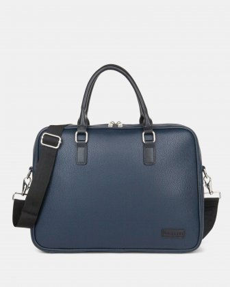"Contrast - Briefcase with Padded laptop section – fits mots 14"" - NAVY Bugatti"