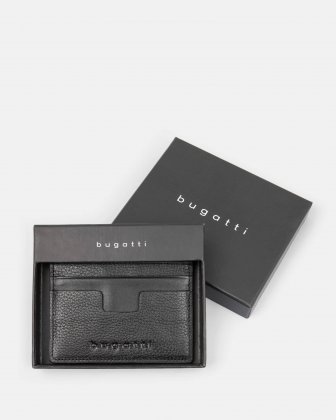 BUGATTI - LEATHER CARD CASE WITH ANTI-THEFT PROTECTION - BLACK Bugatti