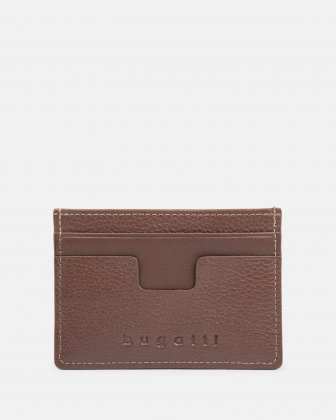 BUGATTI - LEATHER CARD CASE WITH ANTI-THEFT PROTECTION - BROWN Bugatti
