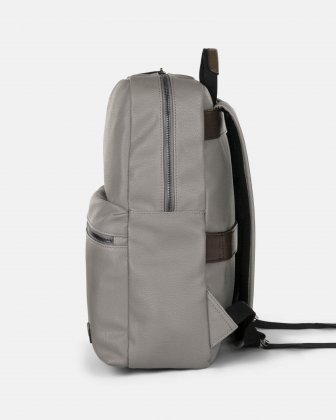 """CONTRAST - VEGAN LEATHER BACKPACK WITH PADDED LAPTOP SECTION - FITS MOST 14"""" - GREY - Bugatti"""
