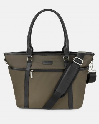 "MORETTI BUSINESS TOTE BAG WITH LAPTOP COMPARTMENT (14"") - KHAKI Bugatti"