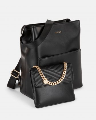 PRE-ORDER - FAUVE Collection - Vegan leather backpack with large compartment - Black Bugatti